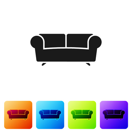 Black Sofa icon isolated on white background. Set icon in color square buttons. Vector Illustration