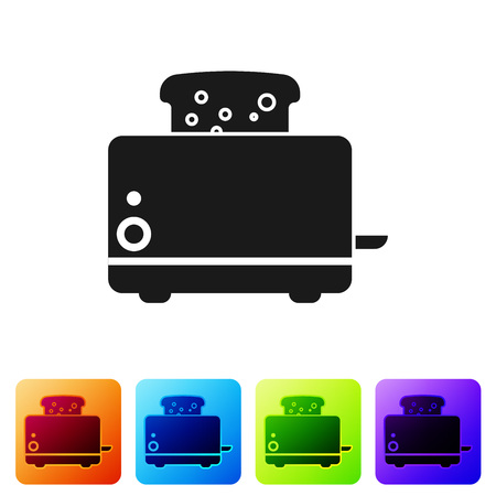 Black Toaster with toasts icon isolated on white background. Set icon in color square buttons. Vector Illustration