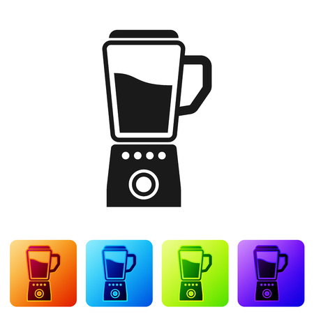 Black Blender icon isolated on white background. Kitchen electric stationary blender with bowl. Cooking smoothies, cocktail or juice. Set icon in color square buttons. Vector Illustration Standard-Bild - 124976361
