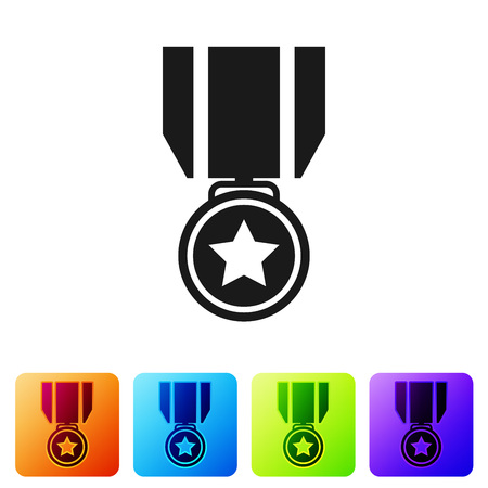 Black Medal with star icon isolated on white background. Winner achievement sign. Award medal. Set icon in color square buttons. Vector Illustration Ilustração