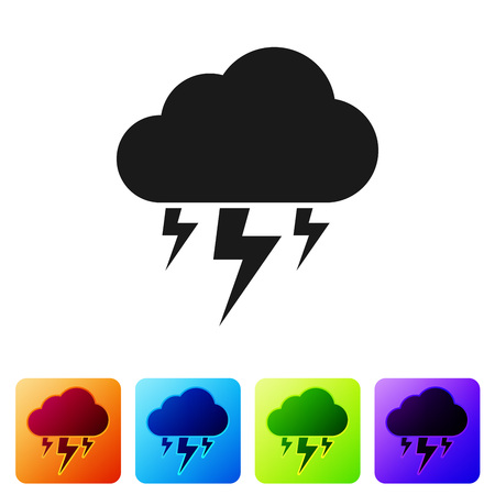 Black Storm icon isolated on white background. Cloud and lightning sign. Weather icon of storm. Set icon in color square buttons. Vector Illustration Banco de Imagens - 124976363