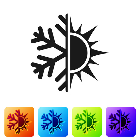Black Hot and cold symbol. Sun and snowflake icon isolated on white background. Winter and summer symbol. Set icon in color square buttons. Vector Illustration