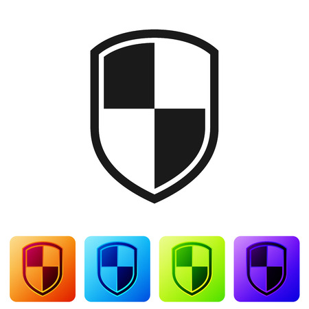 Black Shield icon isolated on white background. Guard sign. Set icon in color square buttons. Vector Illustration