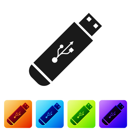 Black USB flash drive icon isolated on white background. Set icon in color square buttons. Vector Illustration