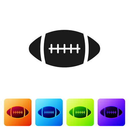 Black American Football ball icon isolated on white background. Set icon in color square buttons. Vector Illustration