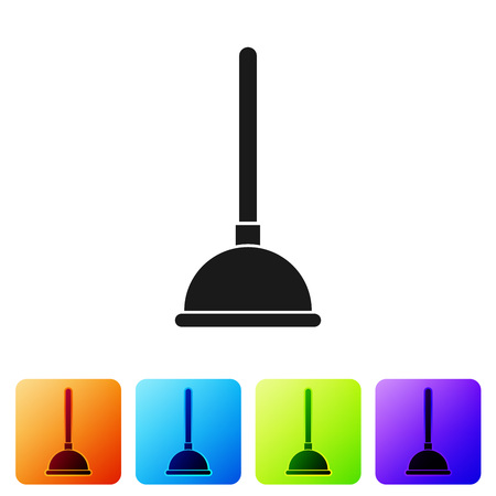 Black Rubber plunger with wooden handle for pipe cleaning icon isolated on white background. Toilet plunger. Set icon in color square buttons. Vector Illustration Imagens - 124976370