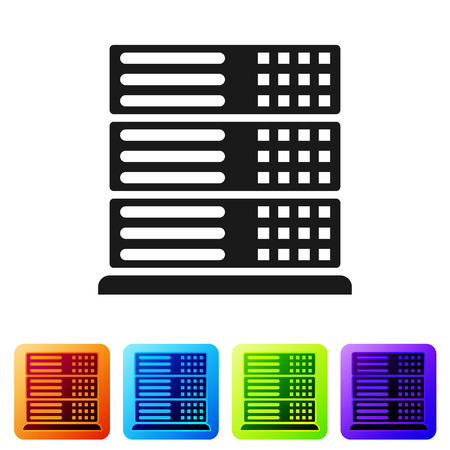 Servidor negro, datos, icono de alojamiento web aislado sobre fondo blanco. Establecer icono en botones cuadrados de color. Ilustración vectorial