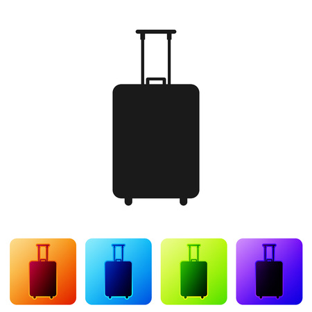 Black Travel suitcase icon isolated on white background. Traveling baggage sign. Travel luggage icon. Set icon in color square buttons. Vector Illustration Vector Illustration