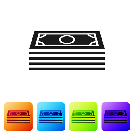 Black Stacks paper money cash icon isolated on white background. Money banknotes stacks. Bill currency. Set icon in color square buttons. Vector Illustration