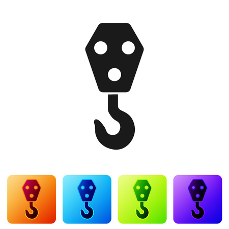 Black Industrial hook icon isolated on white background. Crane hook icon. Set icon in color square buttons. Vector Illustration  イラスト・ベクター素材