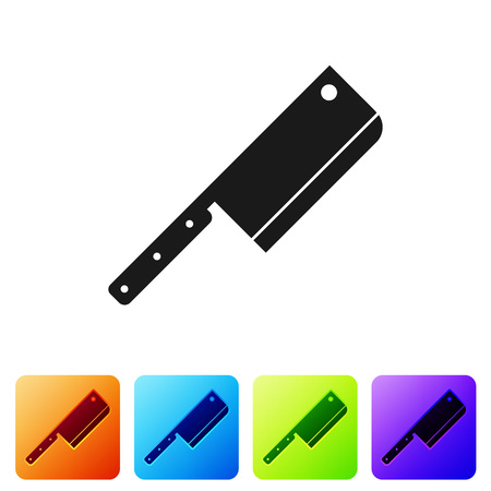 Black Meat chopper icon isolated on white background. Kitchen knife for meat. Butcher knife. Set icon in color square buttons. Vector Illustration Ilustrace