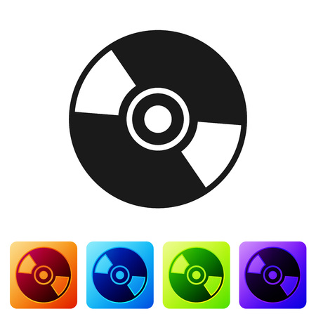 Black CD or DVD disk icon isolated on white background. Compact disc sign. Set icon in color square buttons. Vector Illustration