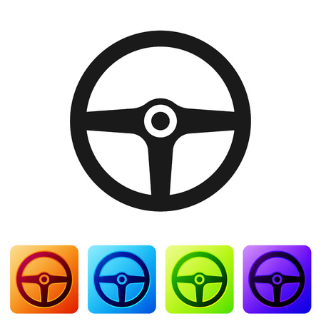 Black Steering wheel icon isolated on white background. Car wheel icon. Set icon in color square buttons. Vector Illustration