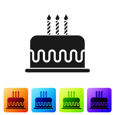 Black Cake with burning candles icon isolated on white background. Happy Birthday. Set icon in color square buttons. Vector Illustration