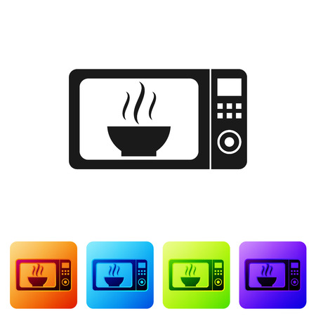Black Microwave oven icon isolated on white background. Home appliances icon.Set icon in color square buttons. Vector Illustration