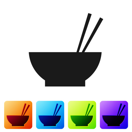 Black Bowl with asian food and pair of chopsticks silhouette icon isolated on white background. Concept of prepare, eastern diet. Set icon in color square buttons. Vector Illustration Иллюстрация