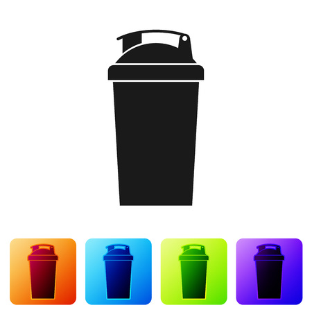 Black Fitness shaker icon isolated on white background. Sports shaker bottle with lid for water and protein cocktails. Set icon in color square buttons. Vector Illustration