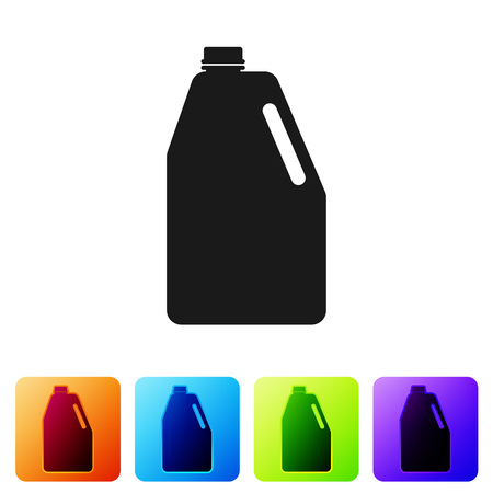 Black Household chemicals blank plastic bottle icon isolated on white background. Liquid detergent or soap, stain remover, laundry bleach. Set icon in color square buttons. Vector Illustration Stok Fotoğraf - 124976396