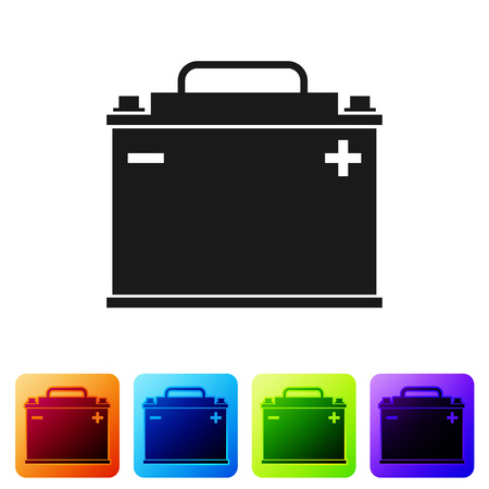 Black Car battery icon isolated on white background. Accumulator battery energy power and electricity accumulator battery. Set icon in color square buttons. Vector Illustration