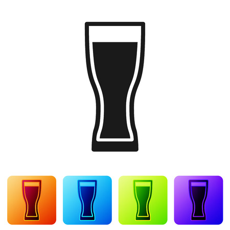 Black Glass of beer icon isolated on white background. Set icon in color square buttons. Vector Illustration