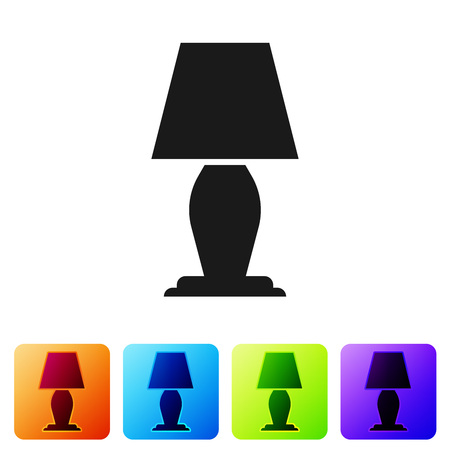Black Table lamp icon isolated on white background. Set icon in color square buttons. Vector Illustration