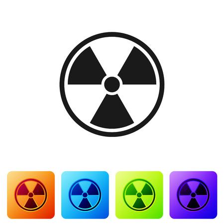 Black Radioactive icon isolated on white background. Radioactive toxic symbol. Radiation Hazard sign. Set icon in color square buttons. Vector Illustration Ilustracja