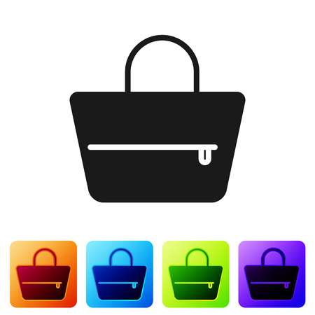 Black Handbag icon isolated on white background. Female handbag sign. Glamour casual baggage symbol. Set icon in color square buttons. Vector Illustration