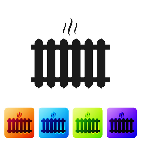 Black Heating radiator icon isolated on white background. Set icon in color square buttons. Vector Illustration