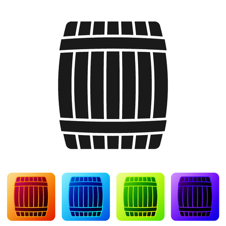 Black Wooden barrel icon isolated on white background. Set icon in color square buttons. Vector Illustration Ilustrace