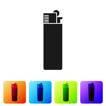 Black Lighter icon isolated on white background. Set icon in color square buttons. Vector Illustration