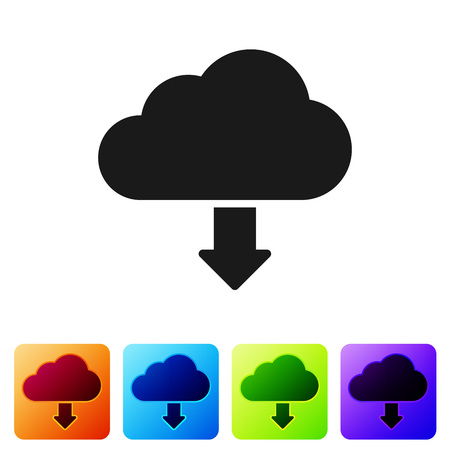 Black Cloud download icon isolated on white background. Set icon in color square buttons. Vector Illustration Stock Vector - 124976410