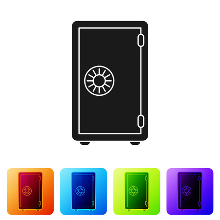 Black Safe icon isolated on white background. The door safe a bank vault with a combination lock. Reliable Data Protection. Set icon in color square buttons. Vector Illustration Ilustrace