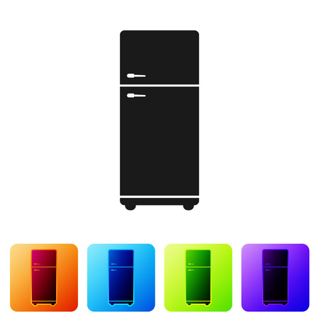 Black Refrigerator icon isolated on white background. Fridge freezer refrigerator. Household tech and appliances. Set icon in color square buttons. Vector Illustration Standard-Bild - 124976415