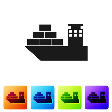 Black Cargo ship icon isolated on white background. Set icon in color square buttons. Vector Illustration