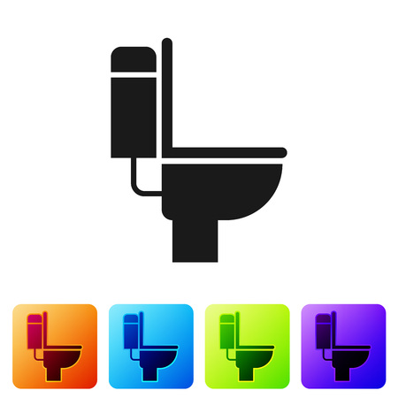 Black Toilet bowl icon isolated on white background. Set icon in color square buttons. Vector Illustration