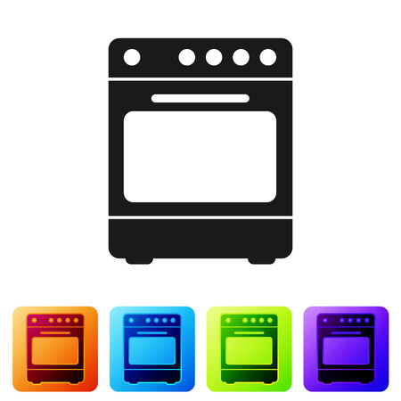 Black Oven icon isolated on white background. Stove gas oven sign. Set icon in color square buttons. Vector Illustration Standard-Bild - 124976418