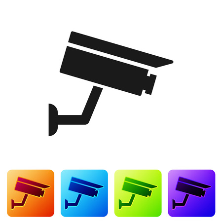 Black Security camera icon isolated on white background. Set icon in color square buttons. Vector Illustration Ilustração
