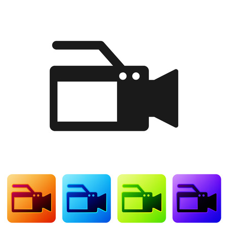 Black Cinema camera icon isolated on white background. Video camera. Movie sign. Film projector. Set icon in color square buttons. Vector Illustration