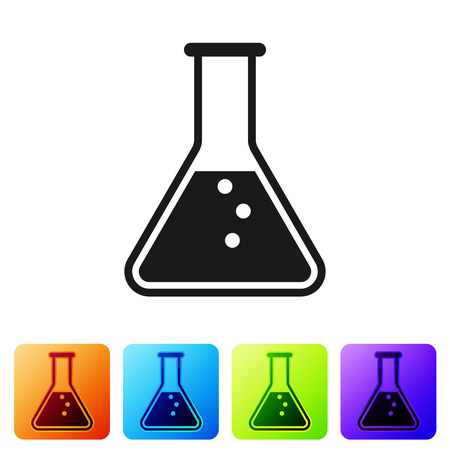 Black Test tube and flask - chemical laboratory test icon isolated on white background. Set icon in color square buttons. Vector Illustration Stok Fotoğraf - 124976423