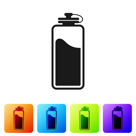 Black Sport bottle with water icon isolated on white background. Set icon in color square buttons. Vector Illustration