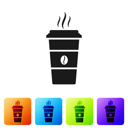 Black Coffee cup icon isolated on white background. Disposable coffee cup with hot coffee. Set icon in color square buttons. Vector Illustration Ilustração