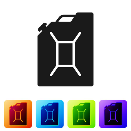 Black Canister for gasoline icon isolated on white background. Diesel gas icon. Set icon in color square buttons. Vector Illustration