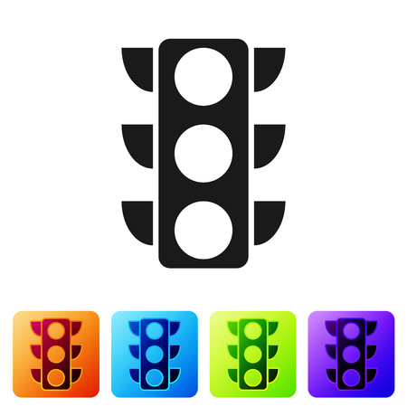Black Traffic light icon isolated on white background. Set icon in color square buttons. Vector Illustration Çizim