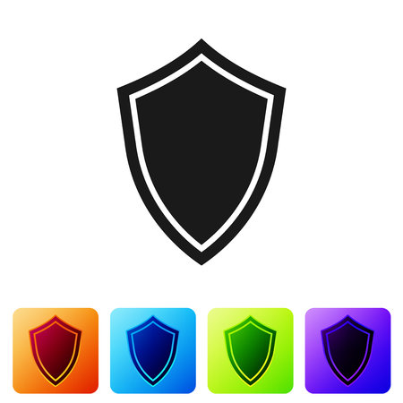 Grey Shield icon isolated on white background. Guard sign. Set icon in color square buttons. Vector Illustration Ilustração