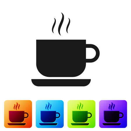 Black Coffee cup icon isolated on white background. Tea cup. Hot drink coffee. Set icon in color square buttons. Vector Illustration