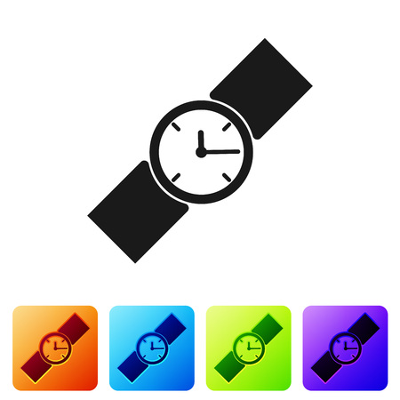 Black Wrist watch icon isolated on white background. Wristwatch icon. Set icon in color square buttons. Vector Illustration