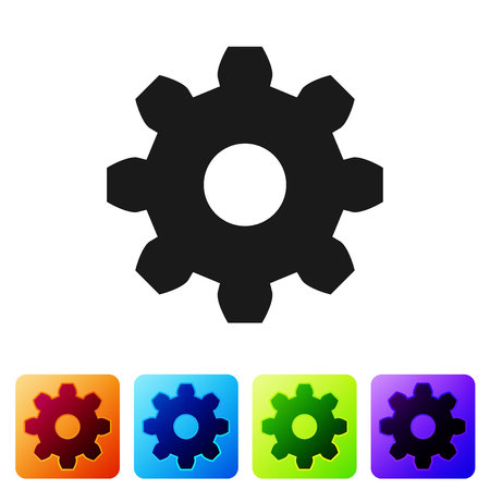 Grey Gear icon isolated on white background. Cogwheel gear settings sign. Cog symbol. Set icon in color square buttons. Vector Illustration Vectores