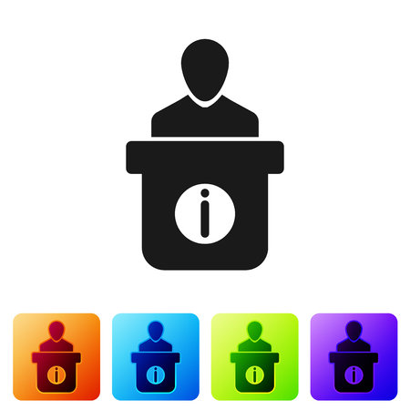 Information desk icon isolated on white background. Man silhouette standing at information desk. Help person symbol. Information counter icon. Set icon in color square buttons. Vector Illustration Ilustração