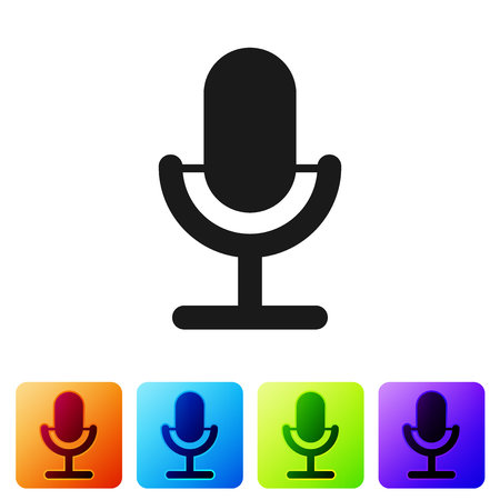 Grey Microphone icon isolated on white background. On air radio mic microphone. Speaker sign. Set icon in color square buttons. Vector Illustration Ilustrace