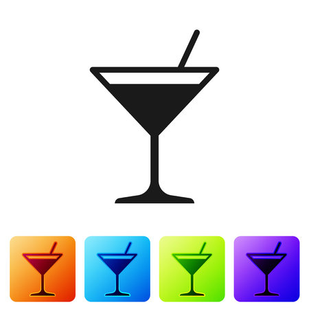 Grey Martini glass icon isolated on white background. Cocktail icon. Wine glass icon. Set icon in color square buttons. Vector Illustration